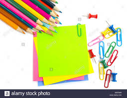 colored writing paper colored pencil clips and note paper on white stock photo royalty colored pencil clips and note paper on white