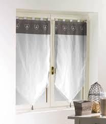 linge de lit style chalet montagne paire de rideaux voile hauteur 90 cm blanc taupe esprit chalet de