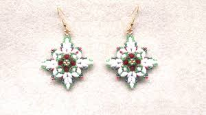 beading4perfectionists christmas earrings with superduo beads