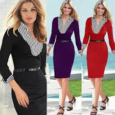 2017 dress business attire new spring casual dress crewneck