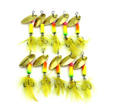 spinnerbait 2018 new metal spoon spinnerbait fishing lures with yellow feather