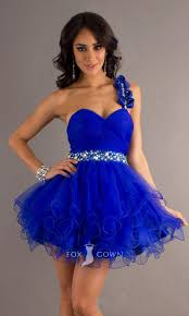 royal blue flower beaded one strap sweetheart short a line ruffle