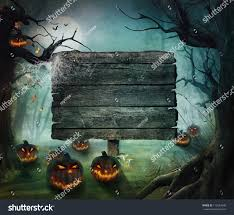 background halloween image halloween design forest pumpkins horror background stock photo