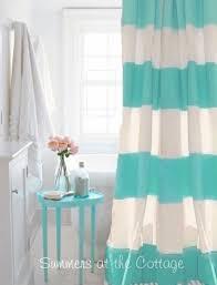 Coastal Shower Curtains Coastal Living House Aqua Cabana Stripe Shower Curtain