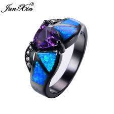 black opal mens ring junxin female purple triangle ring black gold blue fire opal ring