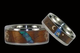 koa wedding bands hawaiian honu koa wood and opal wedding band set hawaii titanium