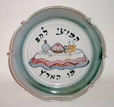 shabbat plate island ceramicist irene helitzer at judaica craft show