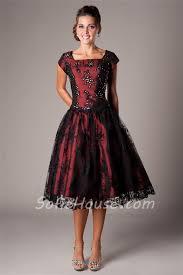 line square neck tea length burgundy satin black lace modest prom
