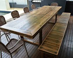 Outdoor Table And Bench Seats Outdoor Dining Table Etsy