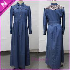 china new design abaya lace appliqued maxi denim dress china