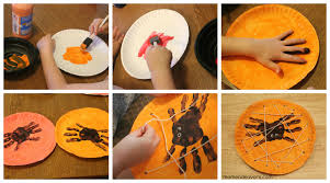 Halloween Crafts For Kindergarten Halloween Kids Craft Handprint Spiders In A Diy Lacing Card Web
