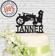 tractor wedding cake topper silhouette with farm tractor last name surname wedding cake