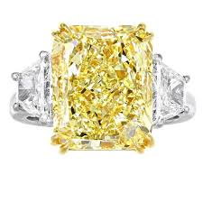 fancy yellow diamond engagement rings certificated 9 37 carat radiant cut fancy yellow si1 three