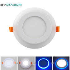 warm blue color dvolador recessed double color round led panel light 6w 9w 16w