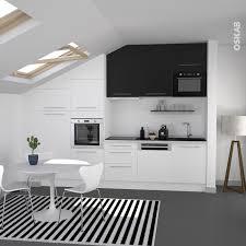 haut de cuisine cuisine bicolore design blanche et meuble haut noir meuble