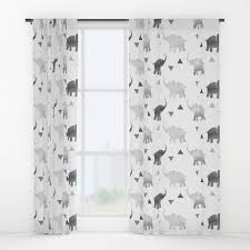 Elephant Curtains For Nursery Window Curtains Elephants U0026 Triangles Print Gray Silver White