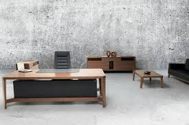 Leather Office Desk Executive Desk Wooden Leather Contemporary Natura