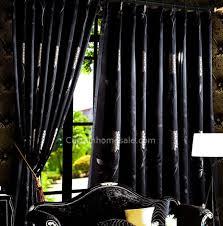 Cheap Black Curtains Suitable Jacquard Floral Black Patterned Curtains