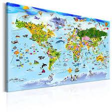 weltkarte für kinderzimmer leinwand bild kunstdruck wandbild kinder weltkarte