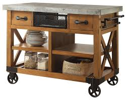 kitchen island antique kailey cart antique oak finish industrial kitchen islands and within