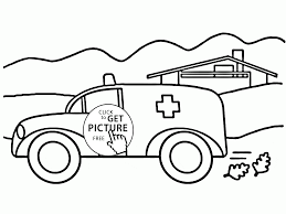 ambulance car coloring page for preschoolers transportation