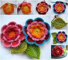 Free Pattern For Crochet Flower - triple layer flower crochet tutorial watch the video crochet