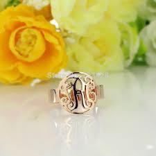 monogrammed ring online shop personal circle monogram rings custom cut 3 gold