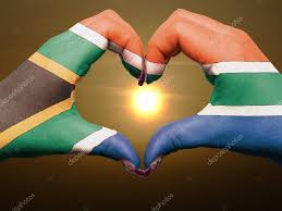 Image Of South African Flag Heart And Love Gesture By Hands Colored In South Africa Flag Dur