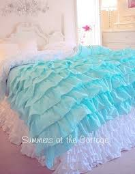 Aqua And White Comforter Shabby Cottage Chic Layers Of Dreamy Aqua Ruffles Comforter Set