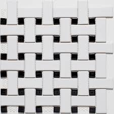 white black basketweave mosaic tiles contemporary wall and floor