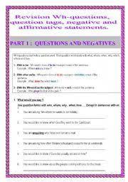 english teaching worksheets negative questions