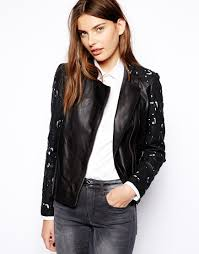 genuine leather motorcycle jacket muubaa tureis laser cut leather biker jacket in black lyst