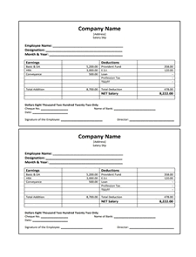 pay stub template no 2 download