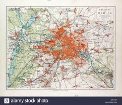 map of areas and surrounding areas map of berlin and the surrounding area germany 1899 stock photo