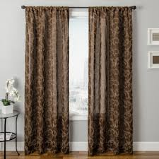 Allen Roth Curtain Allen Roth Everly 63 In L Geometric Chocolate Rod Pocket Curtain