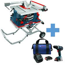 Heavy Duty 15 Amp 2 by Bosch 10 In 15 Amp Reaxx Jobsite Table Saw With Bonus 18 Volt 1 2