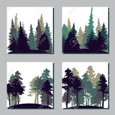 set of different landscapes with pine trees and fir trees square