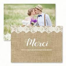 faire part de remerciement mariage remerciement mariage dentelle chetre jute paper and