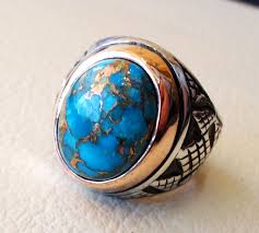 natural turquoise stone turquoise blue natural copper stone ring sterling silver 925