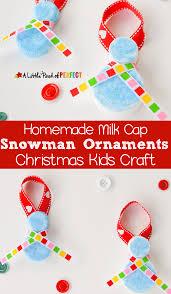 homemade milk cap snowman ornaments christmas kids craft