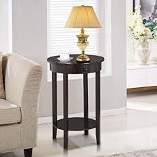 amazon com yaheetech round sofa side end table with drawer wood