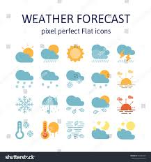 Weather Map Symbols Weather Forecast Flat Icons Pictogram Symbol Stock Vector