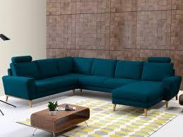 canapé d angle panoramique en tissu bleu ou gris visby