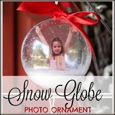 snow globe photo ornament busy happy