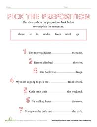 preposition worksheets u0026 free printables education com
