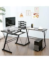 Laptop Corner Desk Deal Alert Modern Luxe By Merax Glass L Shaped Corner Desk Office