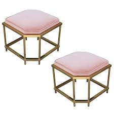 pair of modern mastercraft style brass and light pink velvet