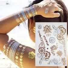 new indian arabic designs golden silver flash tribal henna tattoo