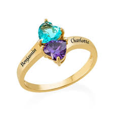 personalized birthstone rings personalized birthstone ring with gold plating mynamenecklace