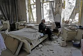syria viral photo of man listening to music amid rubble time com